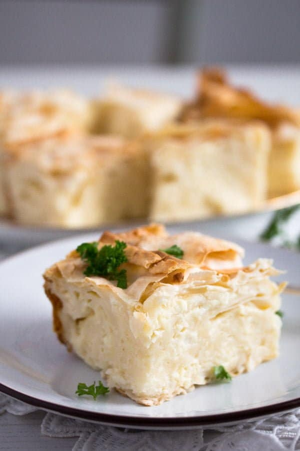 slice of gibanica cheese pie