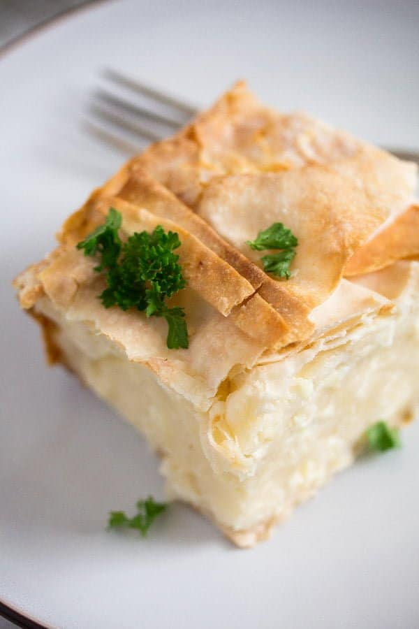slice of serbian gibanica cheese pie