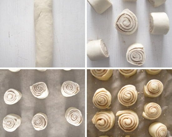 how to cut the dough for making cinnamon buns