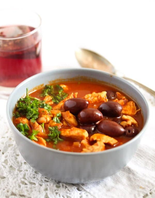 Moroccan chicken stew with olives