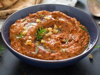 bowl of muhammara dip