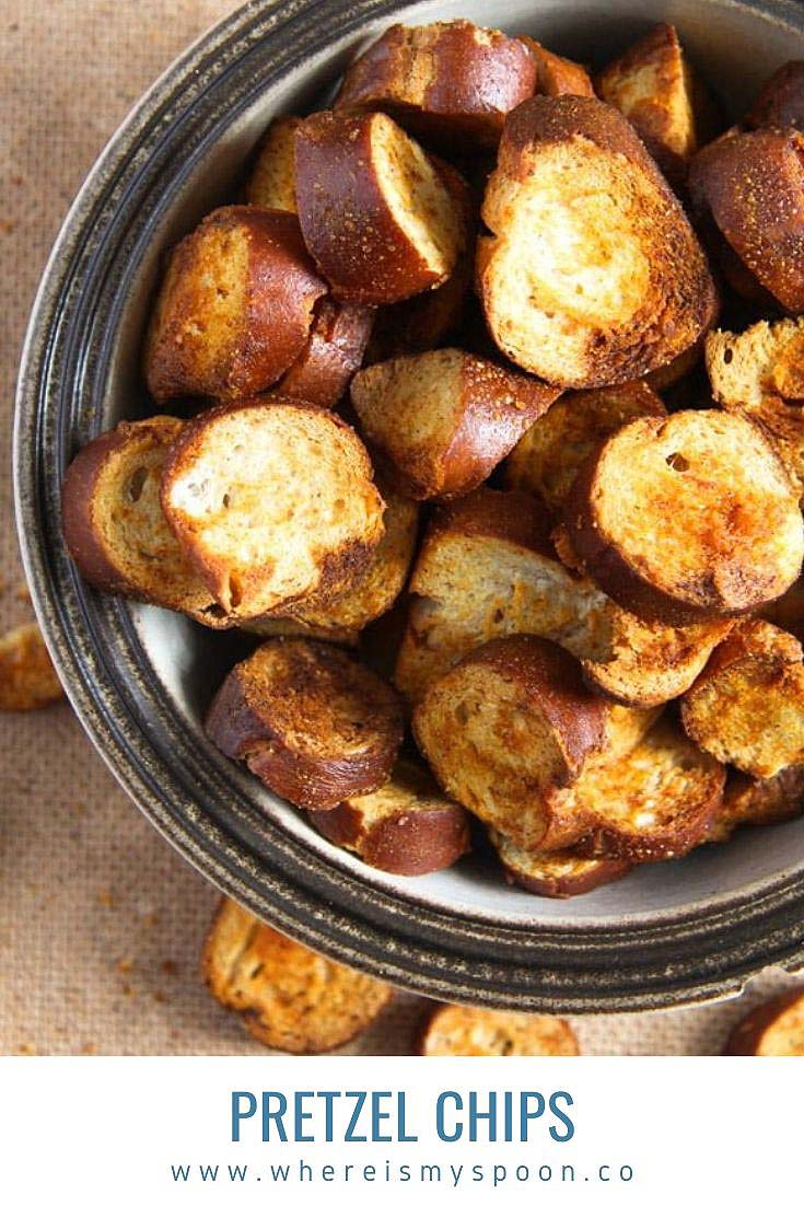 A very easy to make snack: pretzel chips made with day old pretzels, olive oil and some spices. #whereismyspoon #pretzels #pretzelchips #dayoldpretzels #leftoverpretzels #snacks