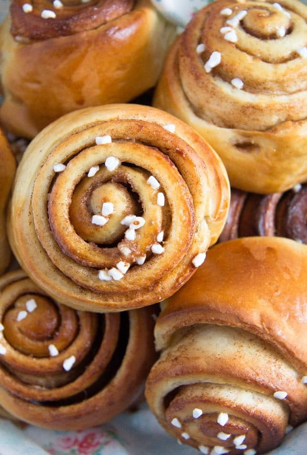 Swedish kanelbullar or cinnamon buns with nib sugar