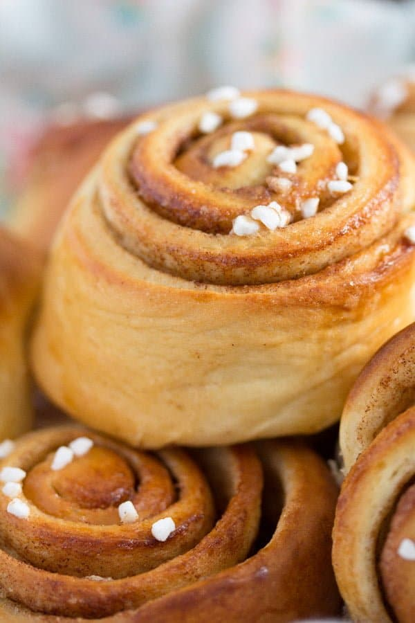 Swedish cinnamon buns with cardamom and nib sugar