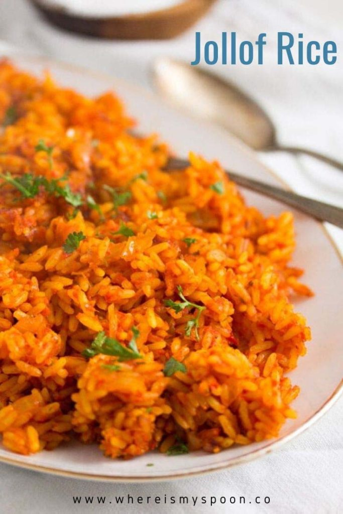 plate with spicy nigerian jollof rice