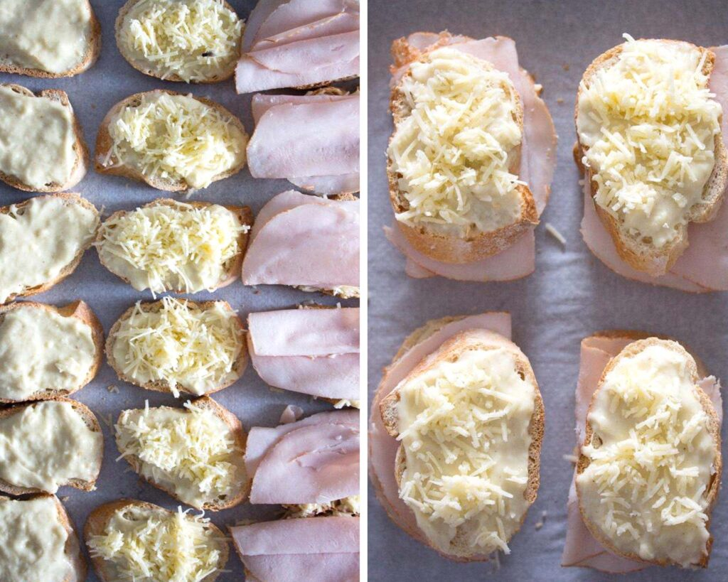 topping baguette slices with cheese, sauce and ham