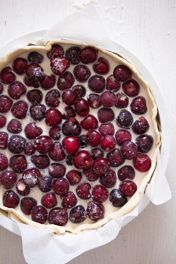 unbaked swiss sweet cherry pie