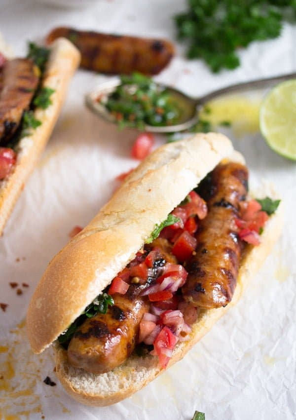 choripan with chimichurri 2 Choripán – Chorizo and Chimichurri Sandwich – Uruguayan Food