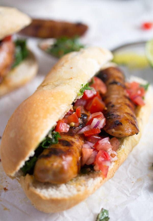 choripan with chimichurri 4 Choripán – Chorizo and Chimichurri Sandwich – Uruguayan Food