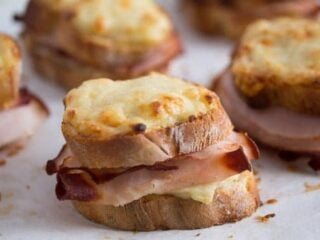baked croque monsieur on the table