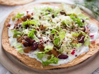 chorizo tostadas with beans