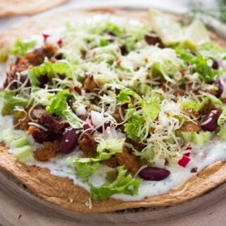 chorizo tostadas with beans