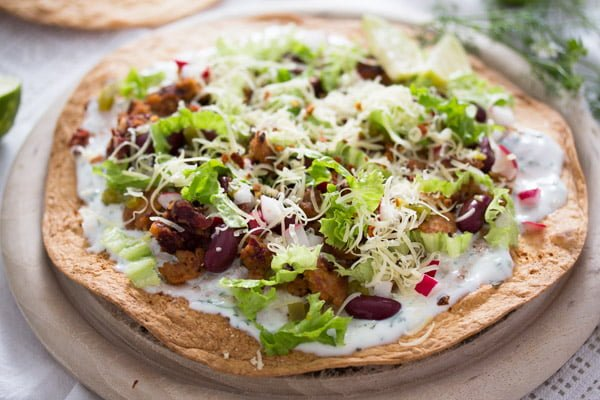 Mexican Tostada Recipe with Chorizo and Beans