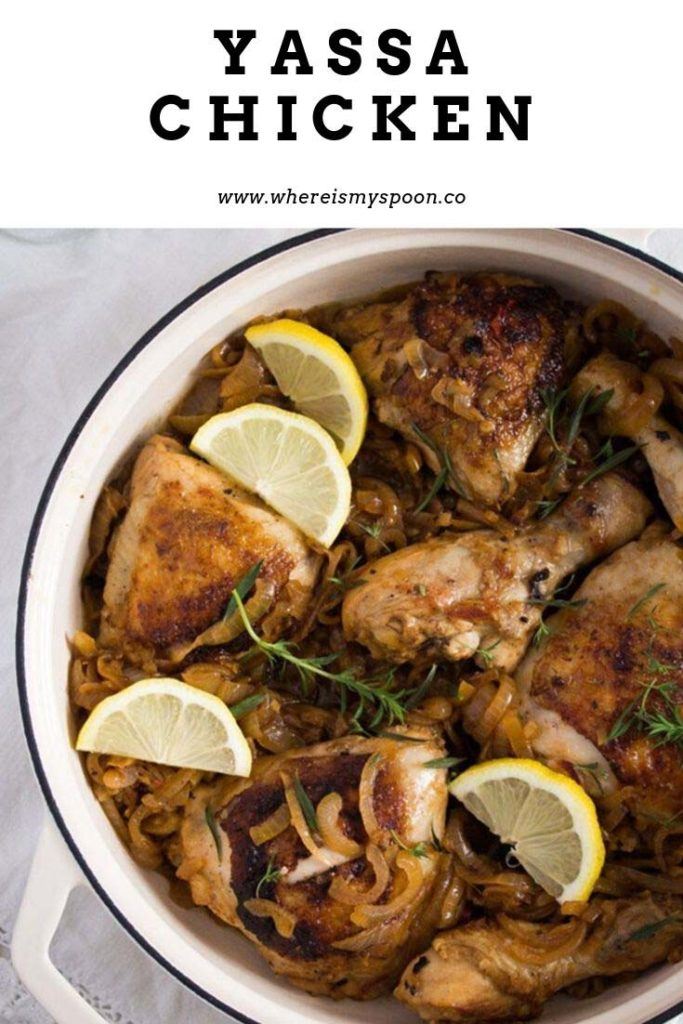 dish with chicken yassa with lemons