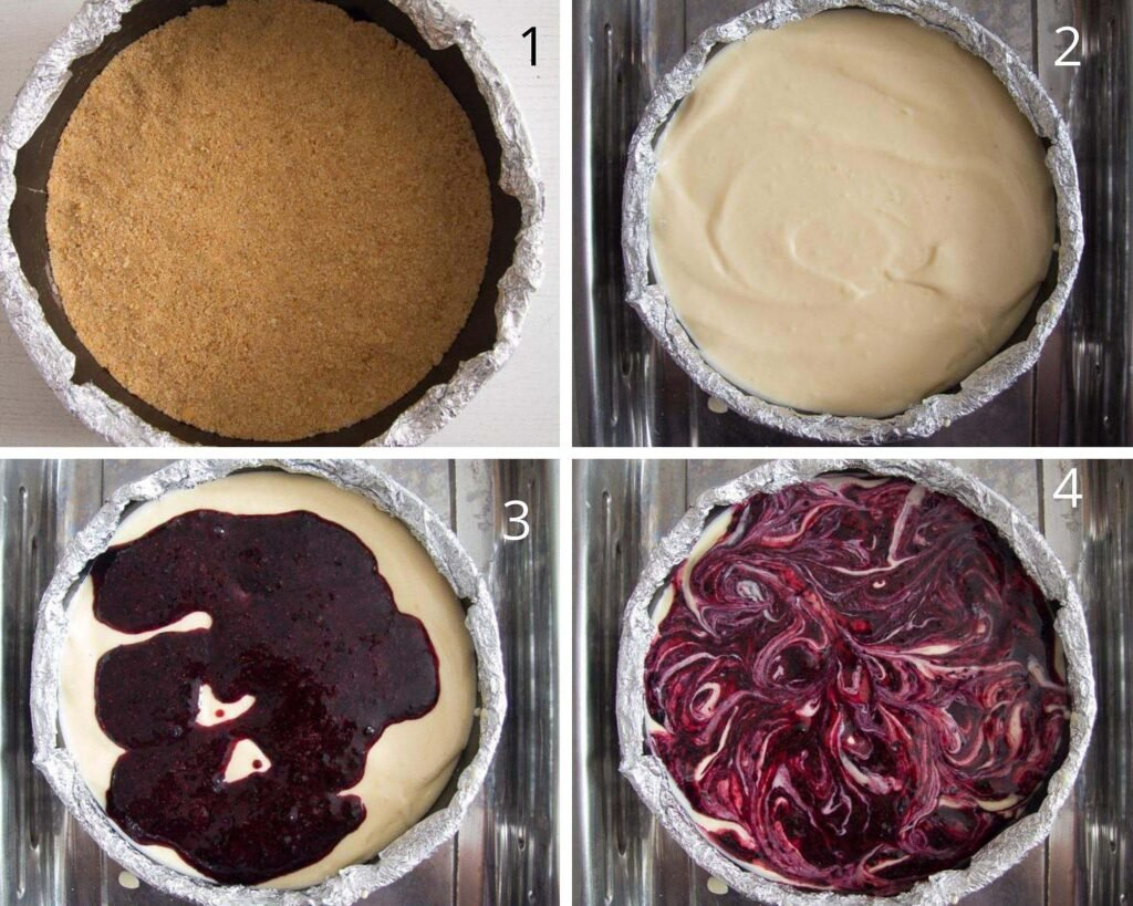 filling a springform with cheesecake mixture and berry puree