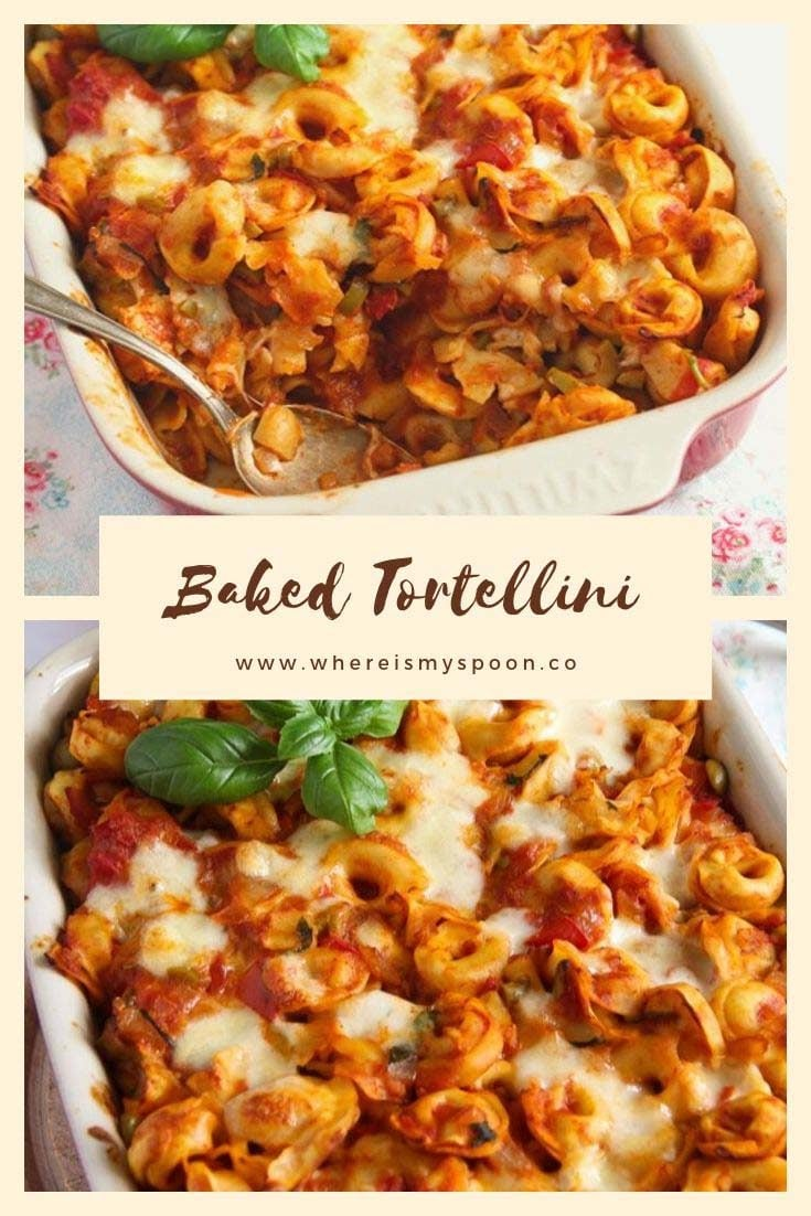 , Baked Tortellini with Tomatoes and Mozzarella