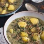beef and potato curry with spinach