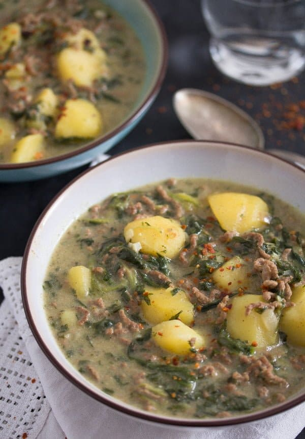 beef potato curry with spinach