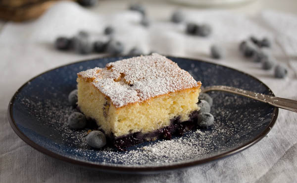slice of blueberry sour cream cake