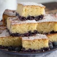 squares of lemon blueberry sour cream cake