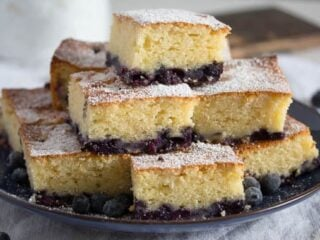 squares of lemon blueberry sour cream cake