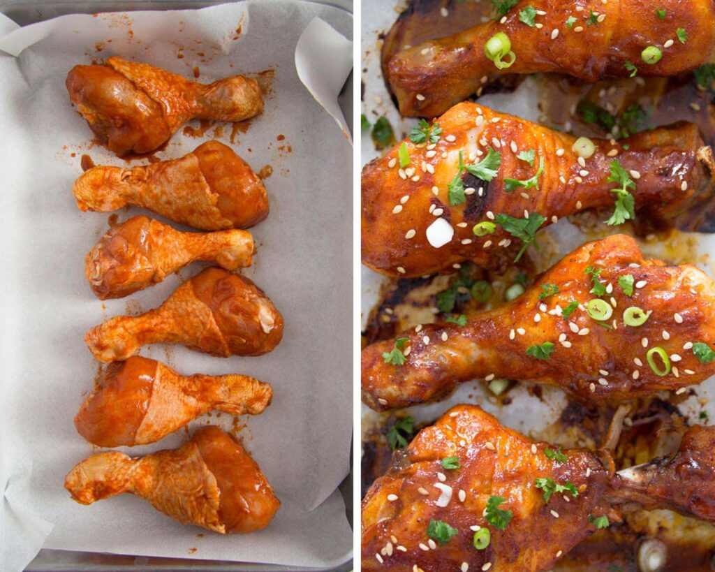 raw marinated chicken drumsticks before and after cooking