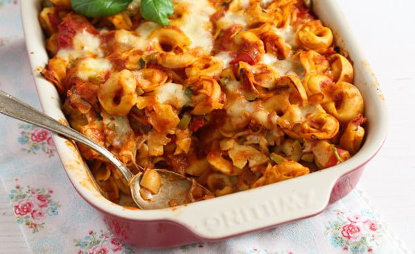 Baked Tortellini with Tomatoes and Mozzarella