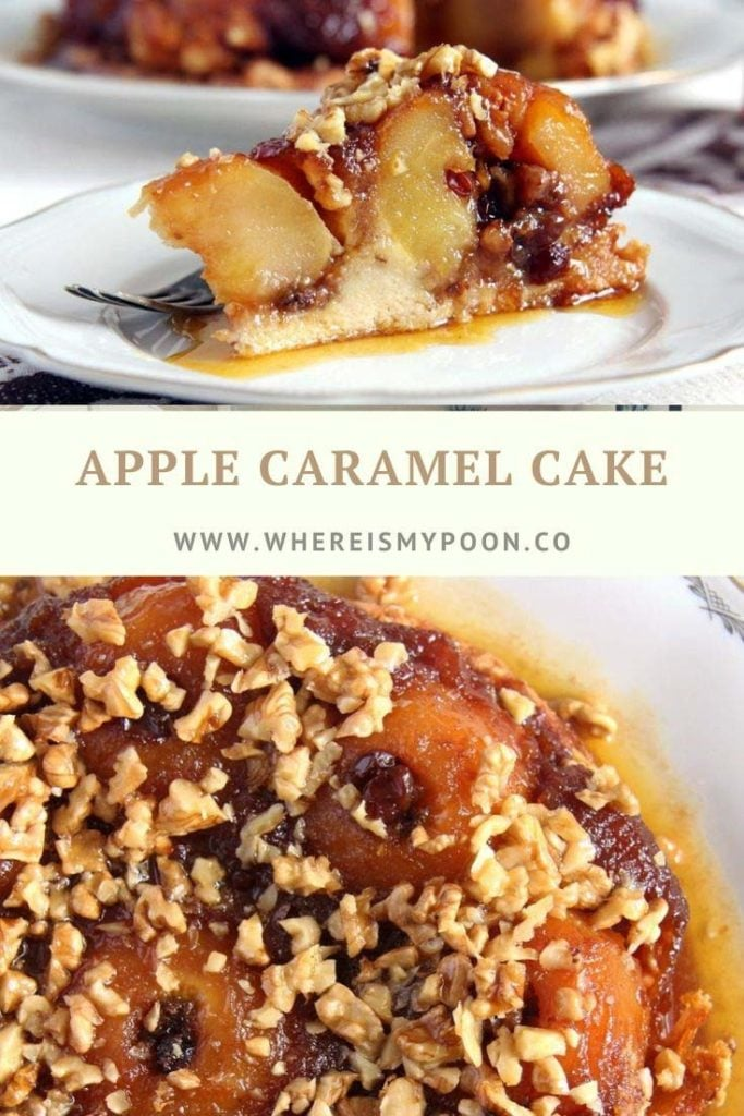 upside down apple cake with caramel on a platter