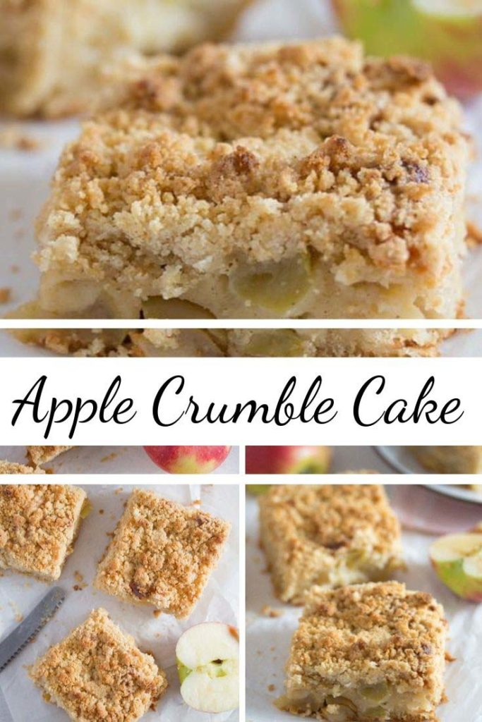 apple crumble cake sliced