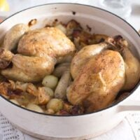 two small roast chickens in a pot