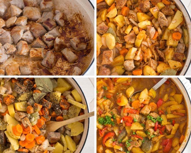 making pork and potato stew step by step
