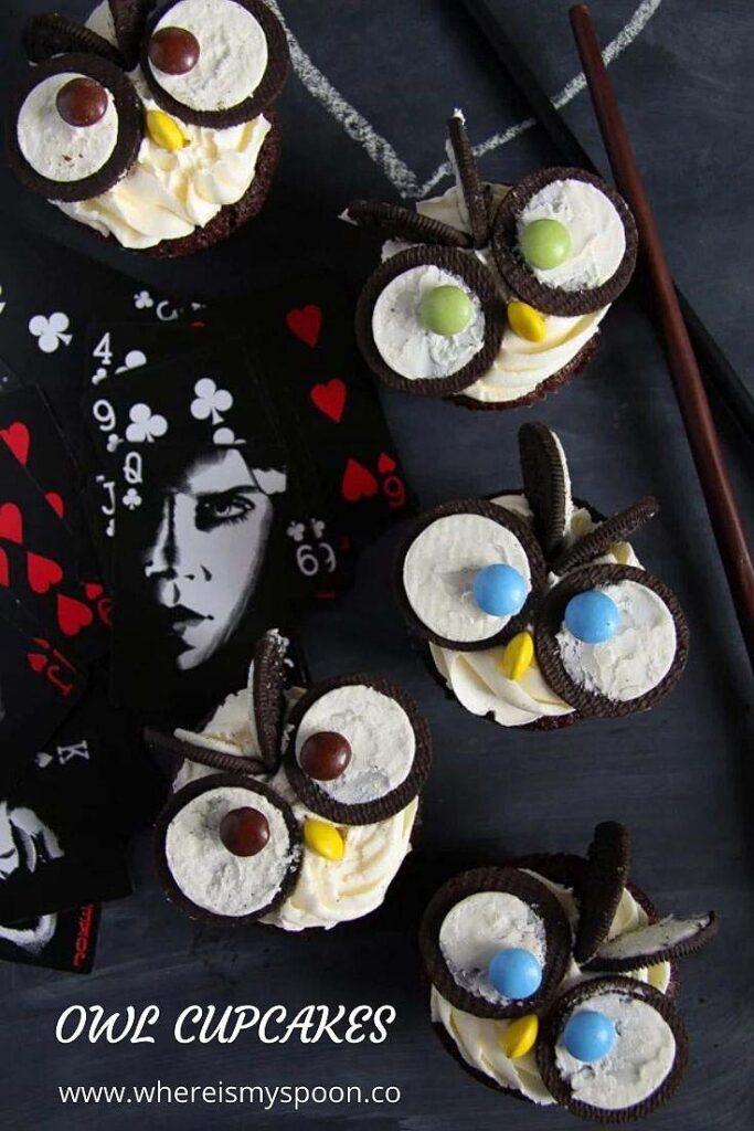 owl cupcakes with oreos