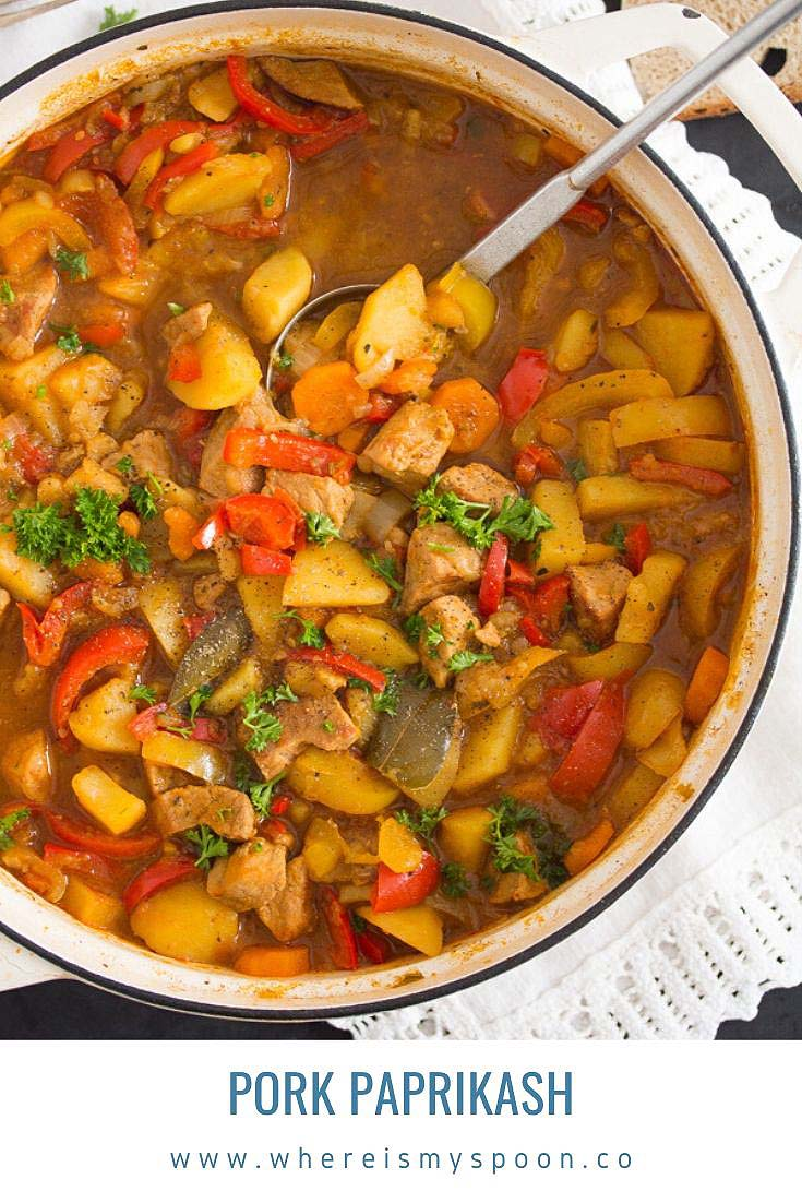 Pork paprikash or Hungarian pork and potato stew, a rich and delicious stew with tender pork pieces, potatoes and lots of paprika. #whereismyspoon #porkpaprikash #hungarianstew #hungariangoulash #porkrecipes #porkstew #hungarianfood