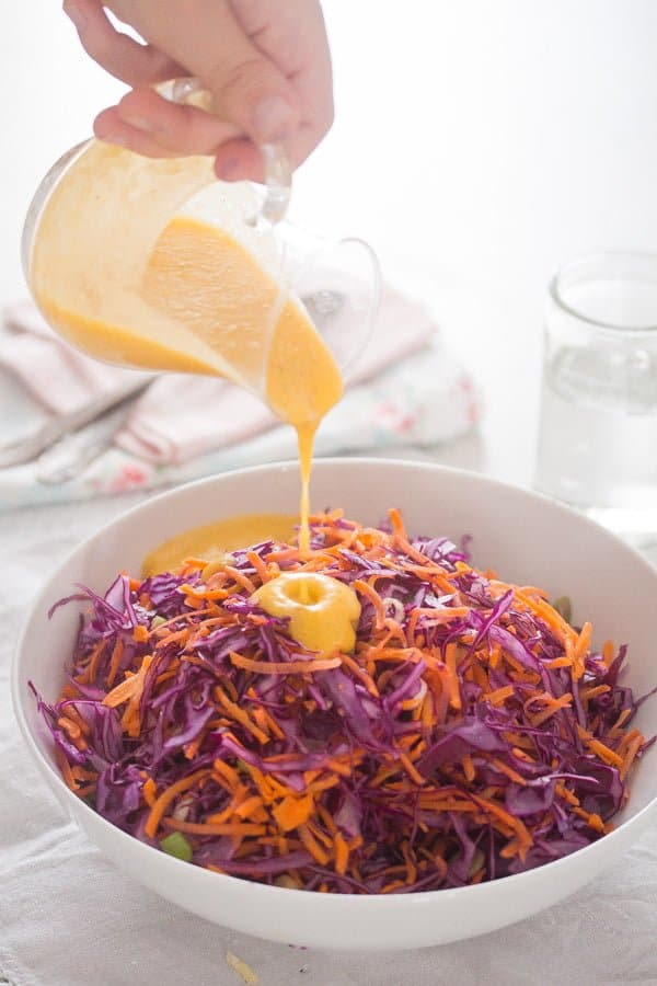 Red Cabbage Slaw with CBD Oil Infused Peach Salad Dressing