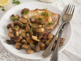 plate of sauteed mushrooms