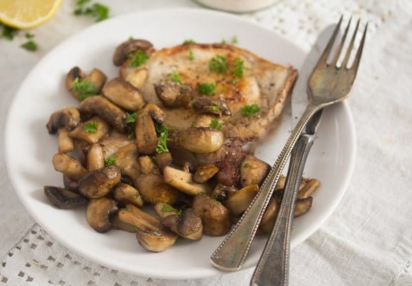 plate of sauteed mushrooms