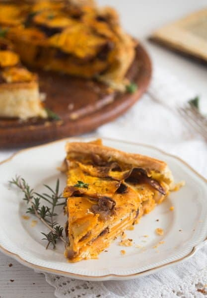 sweet potato pie 11 Puff Pastry Pie with Roasted Sweet Potatoes and Balsamic Onions