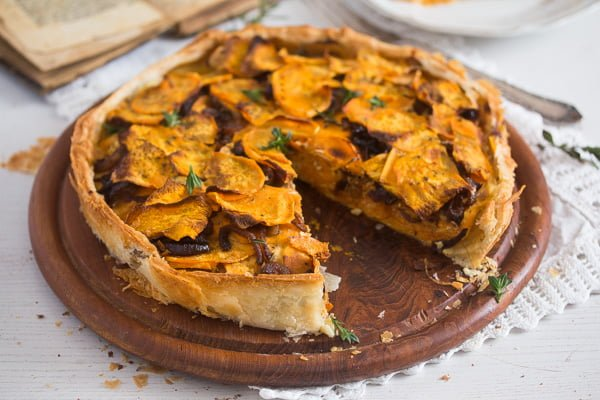sweet potato pie with balsamic onions