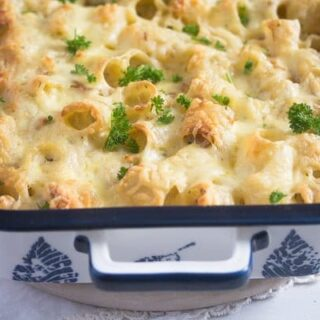 leftover turkey casserole with pasta in a small dish