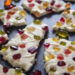 white chocolate bark with gummies