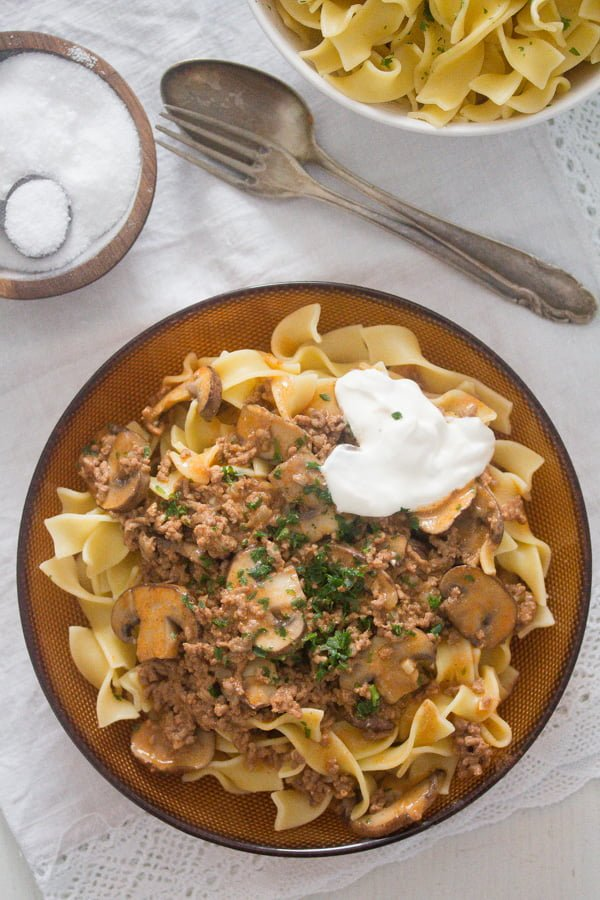 , Beef Stroganoff with Ground Beef and Mushrooms