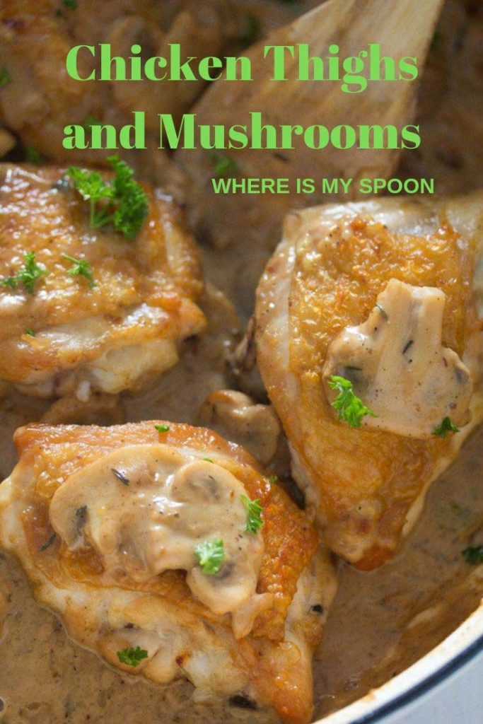 chicken thighs with mushrooms 683x1024 Chicken Thighs with Mushrooms