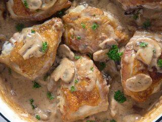 chicken thighs with mushroom gravy