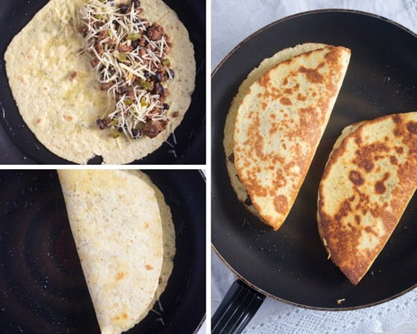 how to make black bean quesadillas 2 Black Bean Quesadillas Recipe with Ground Beef and Avocado