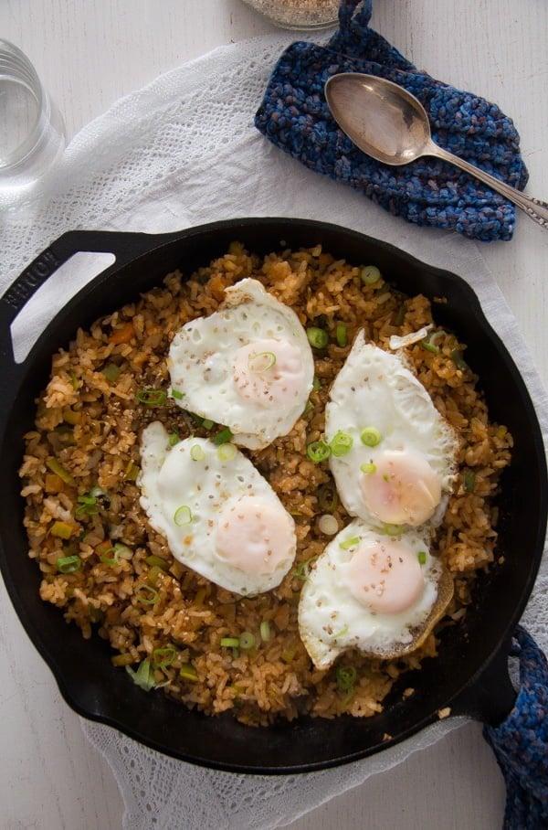 bokkeumbap with gochujang and eggs
