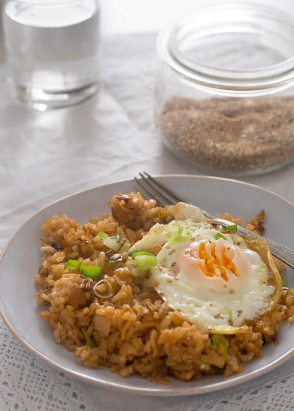korean fried rice with eggs