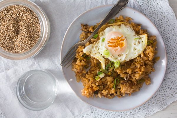 plate of gochujang fried rice with egg on top
