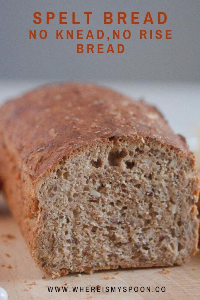 loaf of no-knead spelt bread