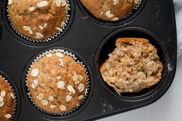 banana oat muffins 4 Easy Banana Muffins with Oats, Oil and Honey
