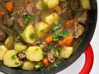 irish lamb stew with potatoes and carrots close up